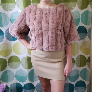 Blush faux fur sweater, never worn.